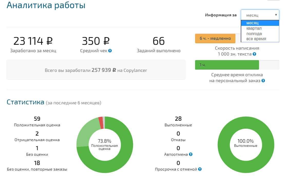 аналитика copylancer 23000 месяц